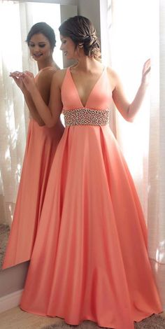 Orange v neck beads long prom prom, orange evening dress for teens, formal dress