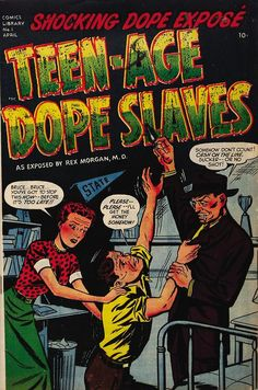 Harvey Comics Library #1, Teen-Age Dope Slaves, April 1952, cover by Marvin Bradley and Frank Edgington.