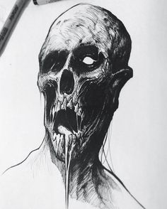 Zombie #inktober #drawlloween #zombie #sketch #pen #ink #illustration #halloween #sketchbook #brushpen