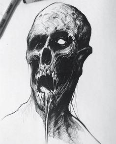 Zombie #inktober #drawlloween #zombie #sketch #pen #ink #illustration #halloween #sketchbook #brushpen