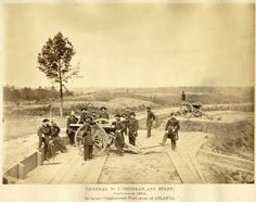 General W.T. Sherman and Staff, Sept 1864 in large confederate fort west of Atlanta.