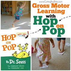 Gross Motor Learning with Hop on Pop Active game for kids that can be adapted for whatever your toddler or preschooler is learning– numbers, letters, sight words, colors, or shapes. Also great for a Dr. Dr Seuss Stem, Dr Seuss Art, Dr Seuss Crafts, Dr Suess, Preschool At Home, Preschool Lessons, Preschool Activities, Preschool Director, Preschool Winter