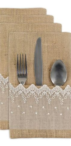 No Sew Burlap Silverware Holder - On Sutton Place Burlap Projects, Burlap Crafts, Sewing Projects, Diy Projects, Crafts To Make, Arts And Crafts, Diy Crafts, Silverware Holder, Diy Wedding Inspiration