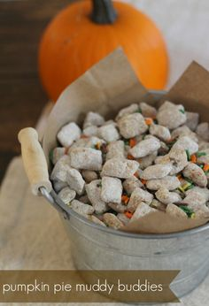 Another perfect and EASY snack for a Halloween Party ~ Addicting fall treat perfect for kids and adults! Very easy to make. Pumpkin Pie Muddy Buddies or Puppy Chow Recipe