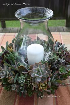 Succulent Wreath around hurricane light