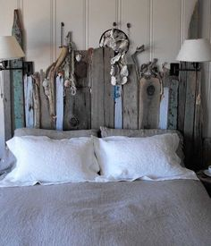 Look for pieces of old pallets washed up on the shore or pieces of driftwood you could use for a shelf. Tricia Rose, Barn Board Headboard, Headboard Ideas, Headboard Designs, Diy Headboards, Nautical Headboard, Driftwood Headboard, Painted Wood Headboard, Country Headboard