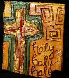 Gold Cross painting on wood with song Holy Holy