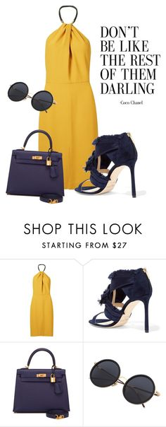 """""""daring"""" by omahtawon ❤ liked on Polyvore featuring Andrea Marques, Jimmy Choo, Hermès and halterdresses"""