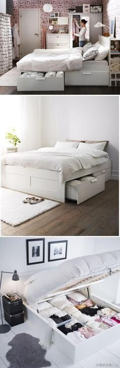bed that lifts up so you can us ALL the under the bed storage, BE.MINE. #DIYWeddingOrganizingTi