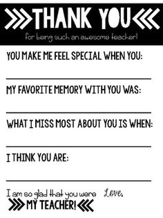 teacher appreciation letters