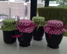 Home made jams from garden plums ready as gifts