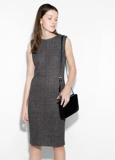 Flecked wool-blend dress