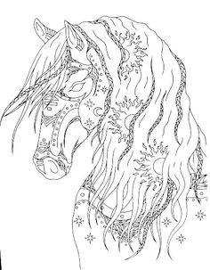 Horse Coloring Pages, Flower Coloring Pages, Coloring Pages To Print, Coloring Sheets, Coloring Books, Horse Stencil, Printable Adult Coloring Pages, Horse Art, Pictures To Draw