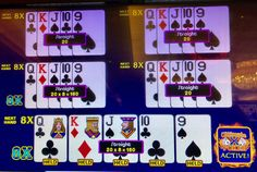 Chances of being dealt a straight are one in 255. Here, I also had an eight multiplier on two of my five hands. Horseshoe Casino 7 April 2018.
