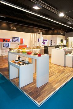 A pale floor, white work surfaces and really effective lighting ensured that the crockery products were the star of the show. Exhibition Stands, Work Surface, Booth Design, Dan, Display, Flooring, Lighting, Projects, Home Decor