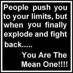 People push you to your limits, but when you finally explode and fight back...you are the mean one!