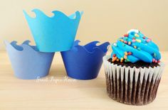 24 Wave Cupcake Wrappers  Six Shades of Blue by SweetPaperHouse, $12.99