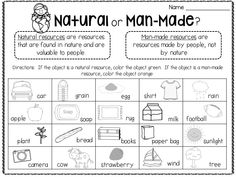 Is it a natural or man-made resource? Learn about Earth's natural resources in this unit! Worksheets For Class 1, First Grade Worksheets, Science Worksheets, Science Lessons, Teaching Science, Science Activities, Weather Worksheets, 2nd Grade Activities, Social Studies Activities