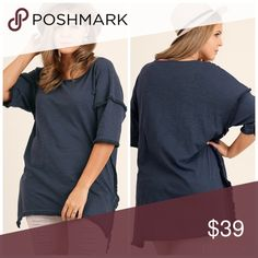 💖PLUS💖Hi Low Tunic with Fringed Hem Navy super comfortable tunic. 65% Cotton 35% Polyester. Tops Tunics