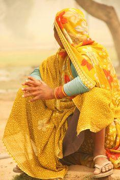 Yellow Sari in New Delhi, India