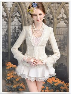 Morpheus Boutique  - Beige Lady Shoulder Knit Ruffle Flare Sleeve Jacket
