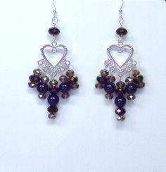 Handmade Earrings with Dangles in Purples by terririchard on Etsy, $10.00