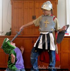 St. George and the Dragon {Plus, learn to make a Roman skirt} | Catholic Inspired
