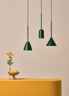 Figura green pendant lights by Schneid Studio Green Pendant Light, Plug In Pendant Light, Pendant Lighting, Pendant Lamps, Green Pendants, Brass Pendant, Kitchen Lighting Fixtures, Modern Light Fixtures, Kitchen Chandelier