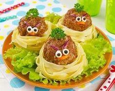 Angry birds en boulettes de bœuf aux tagliatelles