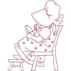 "This free embroidery design from Embroidery Online is called ""Sunbonnet Doing Embroidery""."