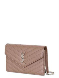 saint laurent - women - shoulder bags - monogram grained leather bag
