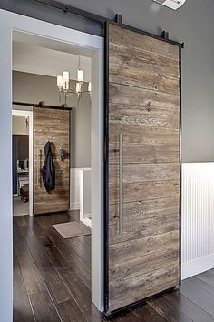 INTERIOR- The doors provide privacy and reduce noise between premises. If it comes to a smaller space, sliding doors are suitable option, because the opening and closing take up less space than con… Design Innovation, Sliding Door Design, Barn Door Designs, The Doors, Entry Doors, Front Doors, Patio Doors, Front Entry, Garage Doors