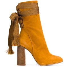 Chlo? Brown Harper Boots (1.325 RON) ❤ liked on Polyvore featuring shoes, boots, brown, brown lace up boots, front lace up boots, brown laced boots, almond toe boots and chloe shoes
