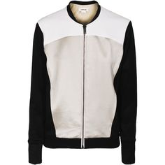 HELMUT LANG Knit Baseball Gloss Chalk Bomber jacket with contrast... (11.434.840 VND) ❤ liked on Polyvore featuring outerwear, jackets, coats, casacos, helmut lang, wet look jacket, baseball bomber jacket, bomber jacket and slim fit flight jacket