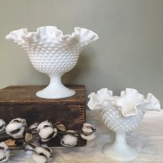 Large Fenton hobnail crimped milk glass footed by OurStoneCottage