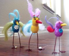 Trio of felted feathered creatures...