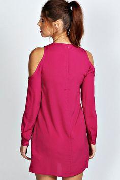 183f7d19f vestido de corte recto con hombro al aire de color liso jen