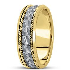 NEW MENS 14k TWO-TONE GOLD HAND CARVED WAVE DESIGN WEDDING BAND RING 7mm SIZE 10