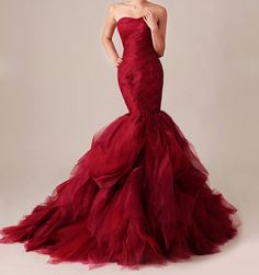 Red, WOW!  Custom Made Lace Organza Mermaid Wedding Dress Gossip Girl Inspired Dramatic Red Gown Vera Wang
