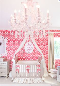 Can not look at this nursery enough...any baby girl will love this and the crystal chandelier is the icing on the cake! I would change the drapery to white or maybe balloon shades..
