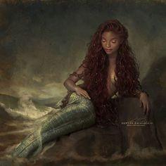 Disney princess Ariel live action film art The Little Mermaid Little Mermaid Live Action, Little Mermaid Art, Ariel Mermaid, Black Mermaid, Ariel Live Action, Black Girl Art, Black Women Art, Black Girl Magic, Mermaid Drawings