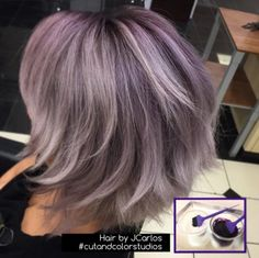 JCarlos Pimentel from Cut and Color Studios used #KenraColor Violet Booster at the roots, melted with 10SM and a dot of Violet Booster at the ends. Love it! #MetallicObsession #Kenra