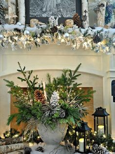 124 best christmas garland mantel ideas images on pinterest in 2018 christmas ornaments christmas decorations and christmas time