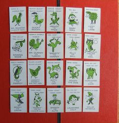 20 Vintage Lime Green Animal and Object Cards 1960s by Isisgoodsny