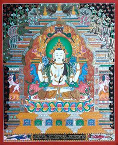 Avalokiteśvara or Chenrezing is the bodhisattva who embodies the compassion of all Buddhas. He is one of the more widely revered bodhisattvas in Mahayana Buddhism. #thangka traditionalartofnepal.com