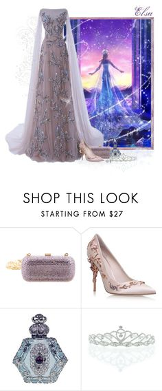 """""""Love Melts A Frozen Heart - Elsa"""" by love-n-laughter ❤ liked on Polyvore featuring Disney, Judith Leiber, RALPH & RUSSO, Kate Marie and Glitzy Rocks"""