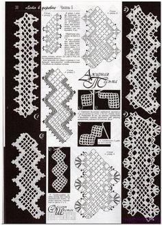 many thread work diagrams and clothing diagrams/yokes/Irish crochet at this Russian link Filet Crochet, Crochet Lace Edging, Crochet Borders, Crochet Diagram, Crochet Chart, Crochet Trim, Crochet Flowers, Crochet Books, Thread Crochet