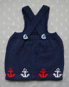Free knitting pattern: Baby Sailor Pinafore Dress