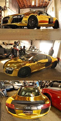 Solid #Gold Audi R8 I pin this because it take a perfectly…