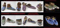 Vari modelli di mocassini Sioux (Očhéthi Sakowin Fuochi Sette del Consiglio) riccamente decorati.
